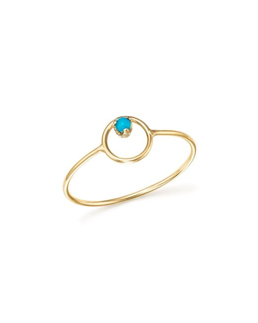 Zoe Chicco - Metallic 14k Yellow Gold Turquoise Circle Ring - Lyst