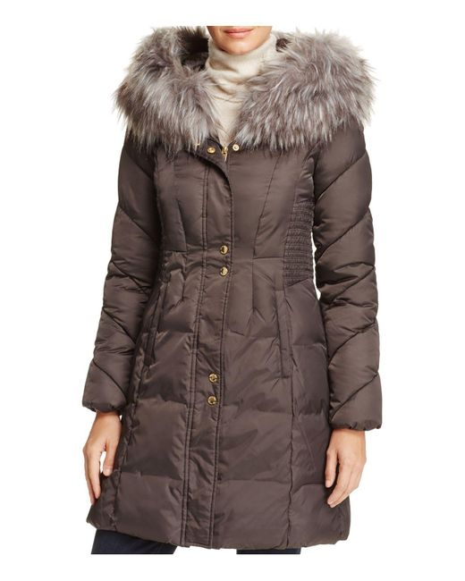 Via Spiga | Brown Smocked Waist Puffer Coat | Lyst