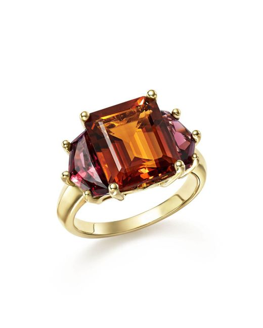 Bloomingdale's - Multicolor Citrine And Garnet Statement Ring In 14k Yellow Gold - Lyst