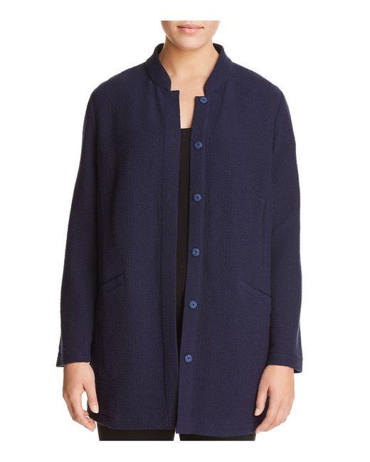 Eileen Fisher - Blue Lightweight Stand Collar Jacket - Lyst