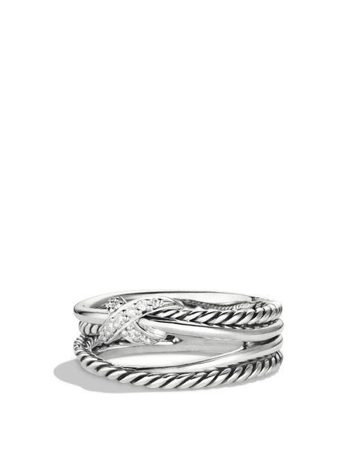 David Yurman - Metallic X Crossover Ring With Diamonds - Lyst