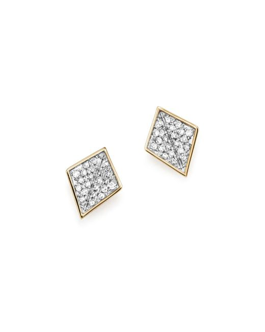 Adina Reyter | Metallic Sterling Silver And 14k Yellow Gold Pavé Diamond Folded Square Stud Earrings | Lyst