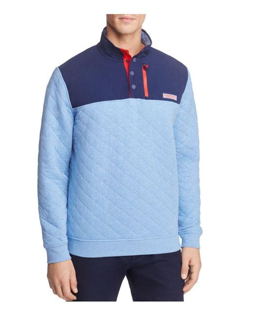 Vineyard Vines Quilted Pullover Sweater In Blue For Men Lyst
