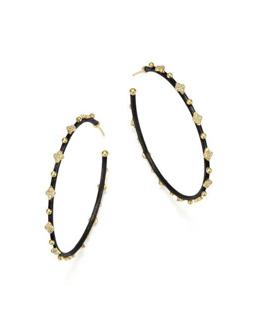 Armenta - Metallic 18k Yellow Gold And Blackened Sterling Silver Old World Midnight Diamond Hoop Earrings - Lyst