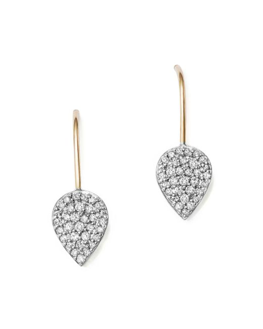 Adina Reyter - Metallic Sterling Silver And 14k Yellow Gold Pavé Diamond Teardrop Earrings - Lyst