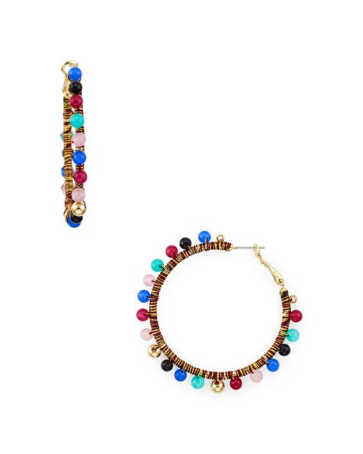 Rebecca Minkoff - Multicolor Bead Hoop Earrings - Lyst