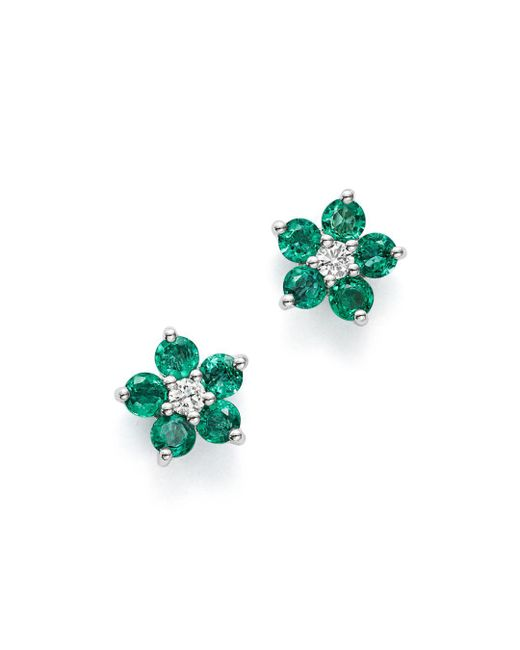Bloomingdale's - Multicolor Emerald & Diamond Flower Stud Earrings In 14k White Gold - Lyst