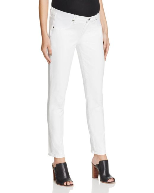 PAIGE - Skyline Skinny Ankle Maternity Jeans In Optic White - Lyst