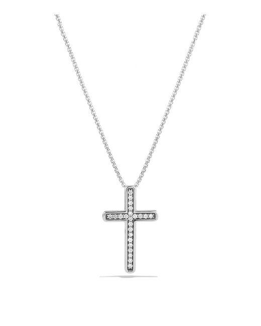 David Yurman   Metallic Petite Pavé Cross Necklace With Diamonds   Lyst