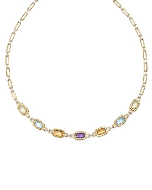 """Bloomingdale's - Metallic Multi Gemstone Necklace In 14k Yellow And White Gold, 18"""" - Lyst"""