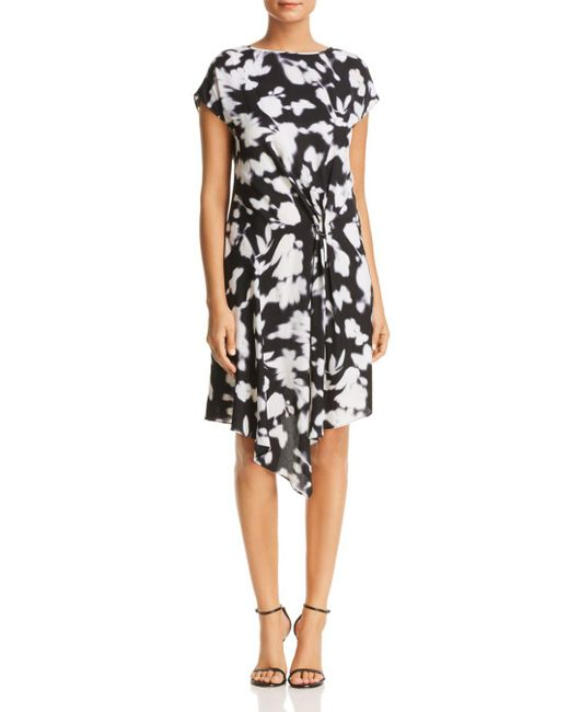 Kenneth Cole - Black Gathered Front Floral Print Dress - Lyst