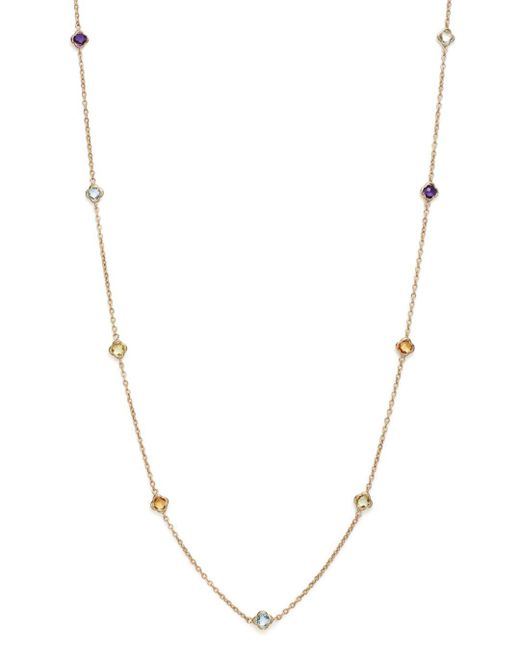 """Bloomingdale's - Metallic Multi Gemstone Clover Station Necklace In 14k Yellow Gold, 36"""" - Lyst"""