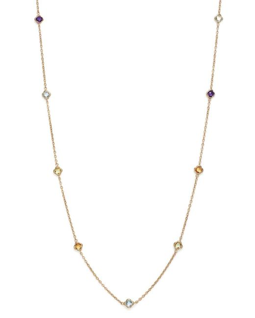 Bloomingdale's - Metallic Multi Gemstone Clover Station Necklace In 14k Yellow Gold - Lyst