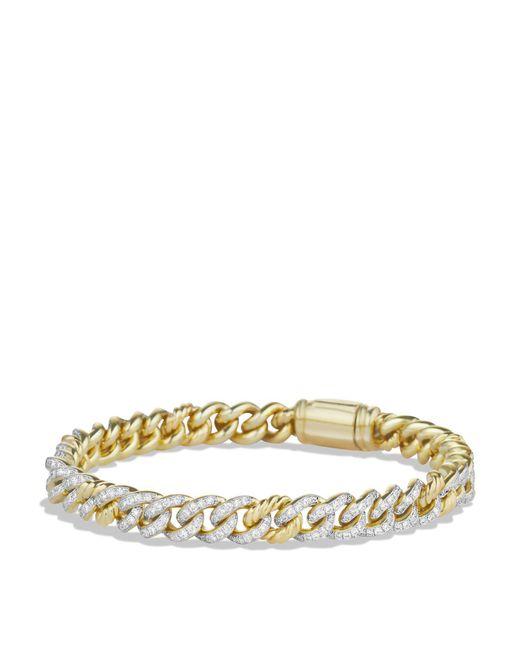 David Yurman   Metallic Petite Pavé Curb Link Bracelet With Diamonds In Gold   Lyst