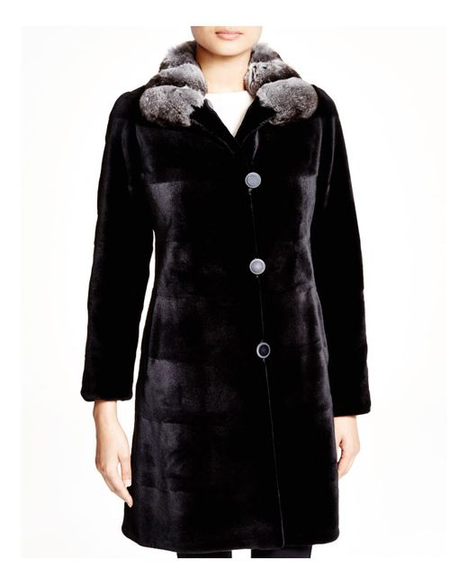 Maximilian - Black Maximilian Sheared Mink Reversible Coat With Chinchilla Collar - Lyst