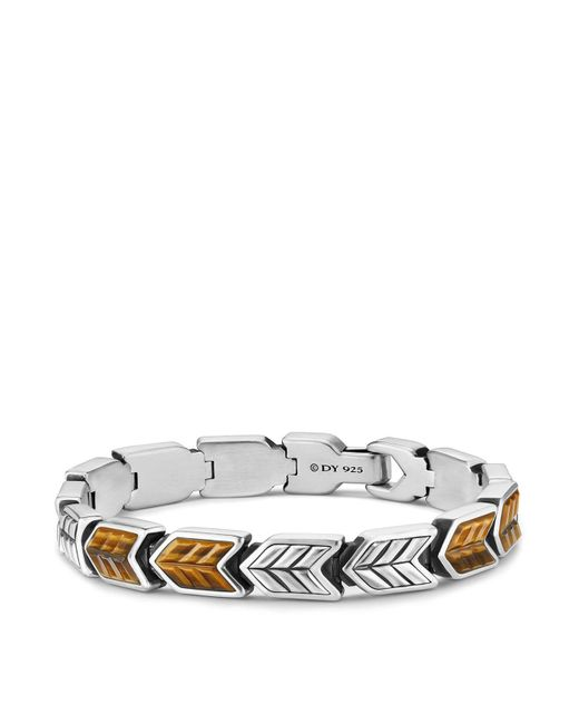 David Yurman - Metallic Chevron Link Bracelet With Tiger's Eye - Lyst