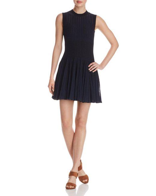 Theory - Blue Knit Checker Dress - Lyst