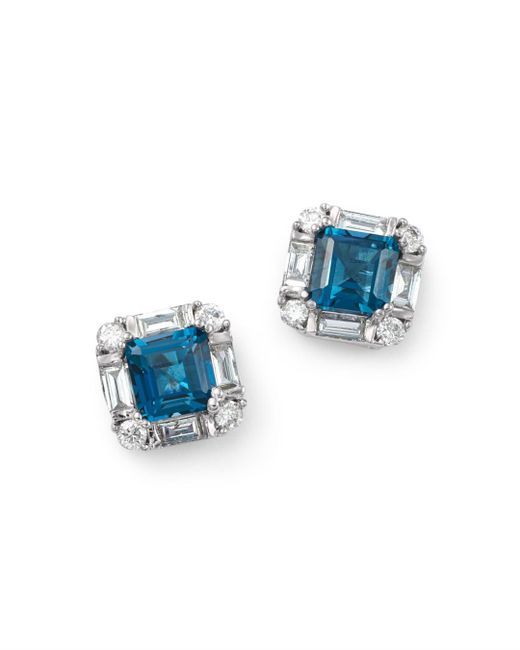 Bloomingdale's - London Blue Topaz & Diamond Square Stud Earrings In 14k White Gold - Lyst