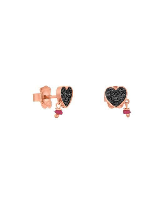 Tous - Metallic Jeweled Heart Stud Drop Earrings - Lyst