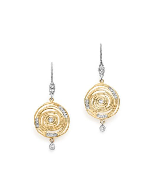 Meira T - Metallic 14k White And Yellow Gold Spiral Circle Diamond Disc Earrings - Lyst