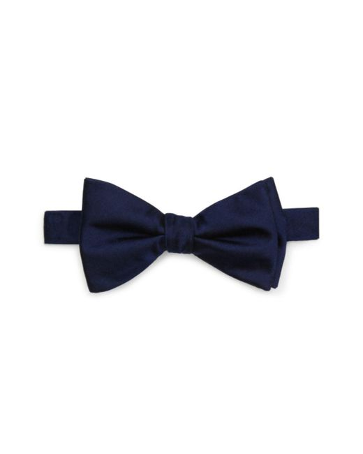 Bloomingdale's Blue Solid Satin Pre - Tied Bow Tie for men