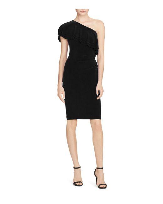 Ralph Lauren | Black Lauren Tiered One-shoulder Dress | Lyst