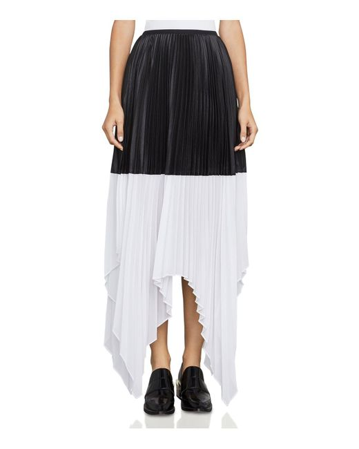 BCBGMAXAZRIA | Black Christy Color-block Pleated Skirt | Lyst