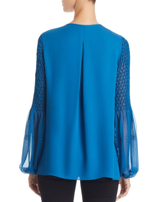 2f1a8c41b8a5e6 ... Elie Tahari - Blue Romeo Pleated Silk Blouse - Lyst
