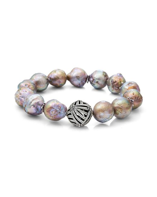 Stephen Dweck | Metallic Champagne Baroque Natural Freshwater Pearl Stretch Bracelet | Lyst