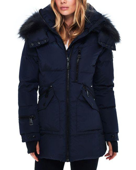 Sam. - Blue Cruiser Fur Trim Down Coat - Lyst