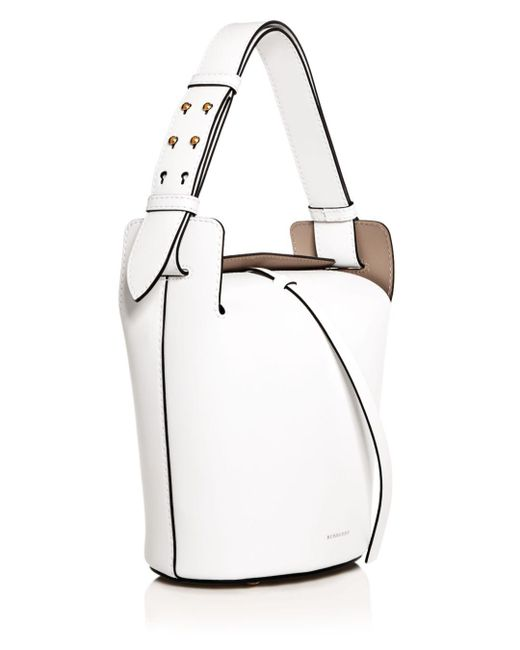 2b9bbf75159c ... Burberry - White The Small Leather Bucket Bag - Lyst
