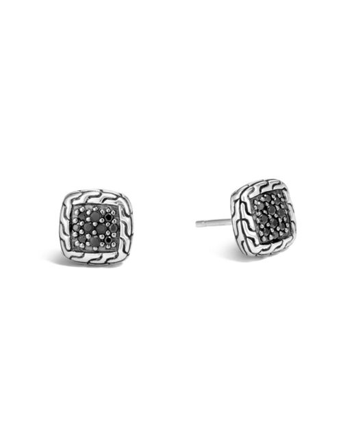 John Hardy - Metallic Sterling Silver Classic Chain Lava Stud Earrings With Black Sapphire - Lyst