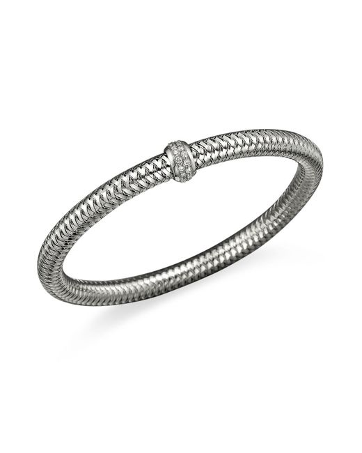 Roberto Coin | Metallic 18k White Gold Primavera Stretch Bracelet With Diamonds | Lyst