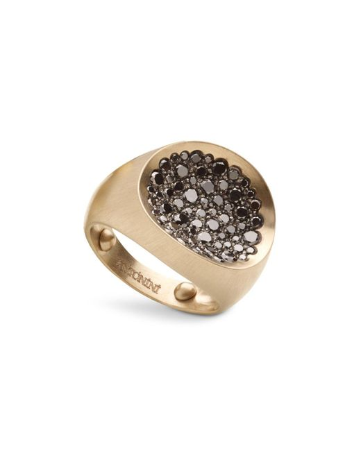 Antonini | Metallic Matte 18k White Gold Matera Large Pavé Black Diamond Ring | Lyst