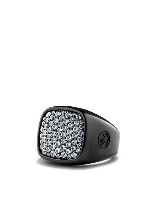 David Yurman - Gray Pavé Ring With Grey Sapphire In Black Titanium for Men - Lyst
