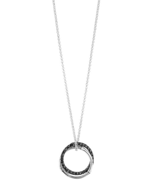 "John Hardy - Metallic Sterling Silver Bamboo Lava Medium Interlink Pendant Necklace With Black Sapphires, 16"" - Lyst"