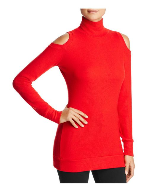 Three Dots - Red Cold Shoulder Turtleneck Sweater - Lyst
