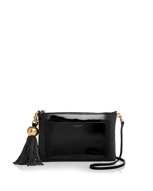 Tory Burch | Black Ombré Tassel Patent Leather & Suede Crossbody | Lyst