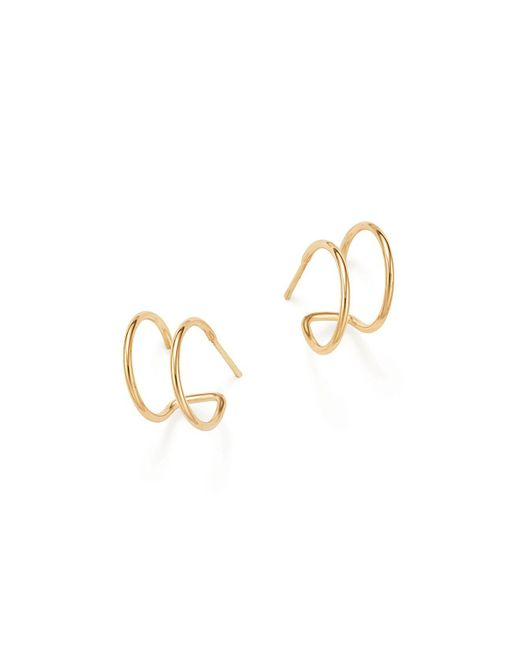 Zoe Chicco | Metallic 14k Yellow Gold Double Hoop Earrings | Lyst