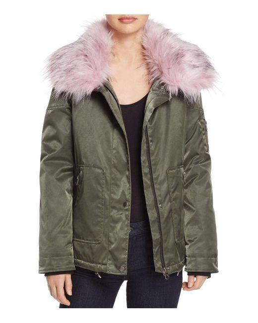 Guess | Green Joy Faux Fur-collar Parka | Lyst