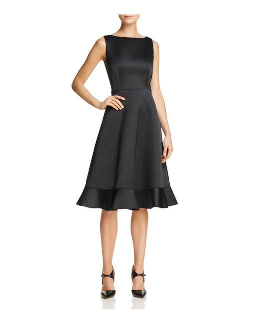 Paule Ka - Black Ruffled-hem Duchess Satin Dress - Lyst