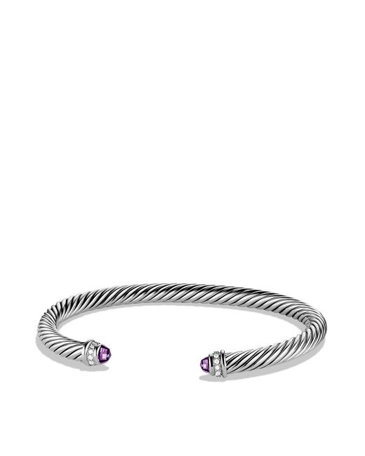 David Yurman | Metallic Cable Classics Bracelet With Amethyst And Diamonds | Lyst