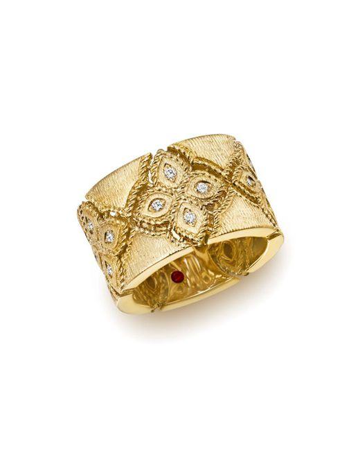 Roberto Coin - Metallic 18k Yellow Gold Venetian Princess Diamond Ring - Lyst