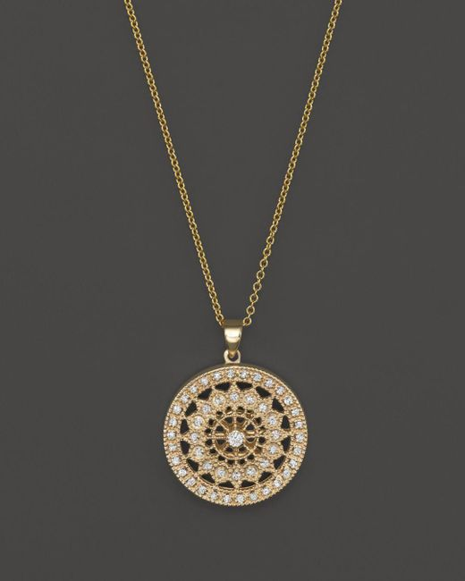 Bloomingdale's - Metallic Diamond Medallion Pendant Necklace In 14k Yellow Gold, .25 Ct. T.w. - Lyst