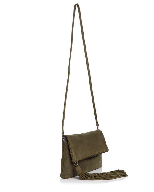 58f19df39 ... Halston Heritage - Green Christie Foldover Nubuck Leather Clutch - Lyst