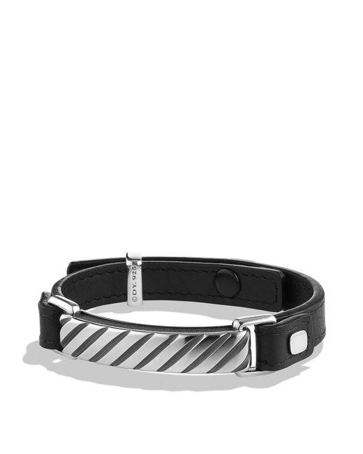 David Yurman | Metallic Modern Cable Id Bracelet In Black Leather | Lyst