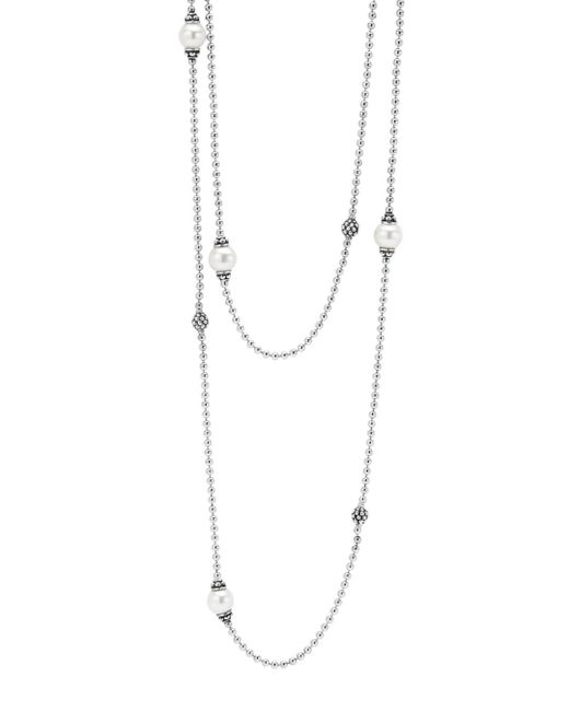 Lagos - Metallic 'luna' Double Strand Pearl Station Necklace - Lyst
