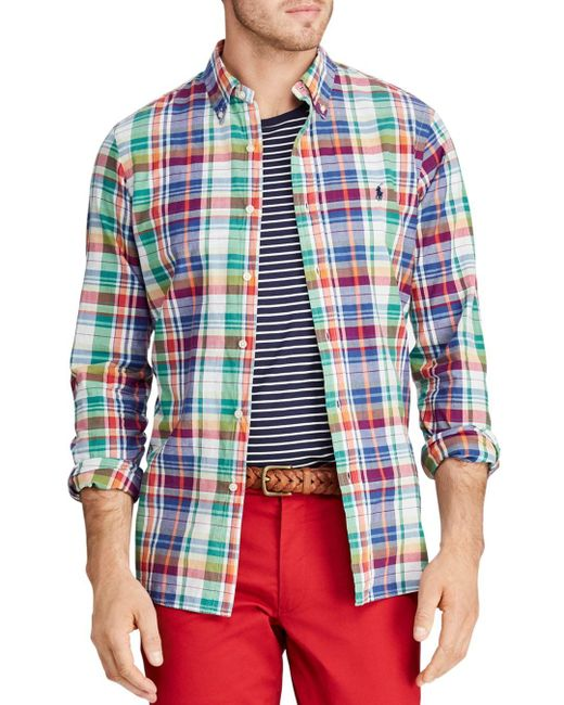 fa32df4a7 Polo Ralph Lauren - Red Classic Fit Button-down Madras Shirt for Men - Lyst  ...