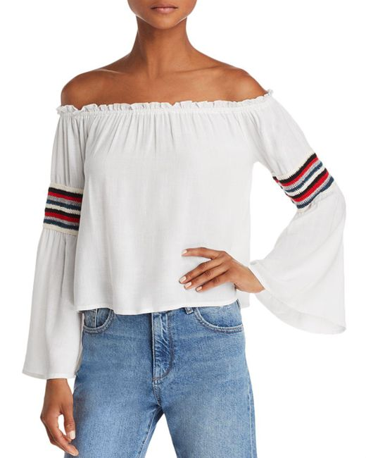 Honey Punch - White Striped-trim Off-the-shoulder Top - Lyst