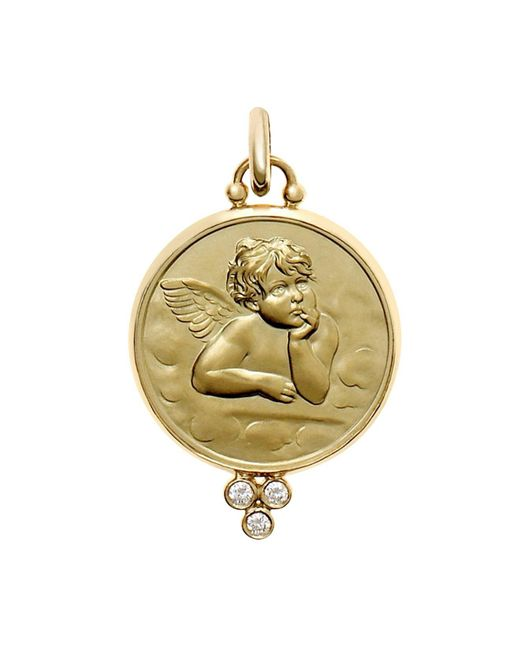 Temple St. Clair - Metallic 18k Yellow Gold Angel Pendant With Diamond Granulation - Lyst